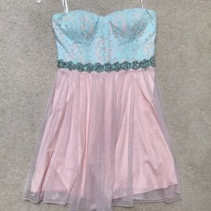 Pink and blue strapless prom/homecoming dress